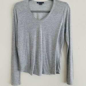 Vince Gray Frayed Hem Long Sleeve V Neck T Shirt